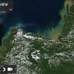 The condition of hotspots and smoke haze in the Sambas District, West Kalimantan Province is visible on satellite sourced from https://worldview.earthdata.nasa.gov/
