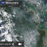 The condition of hotspots and smoke haze in the Riau and Jambi - Indonesia is visible on satellite sourced from https://worldview.earthdata.nasa.gov/