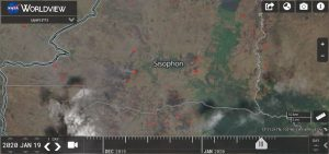 The condition of hotspots and smoke haze in the Sisophon-Cambodia is visible on satellite sourced from https://worldview.earthdata.nasa.gov/