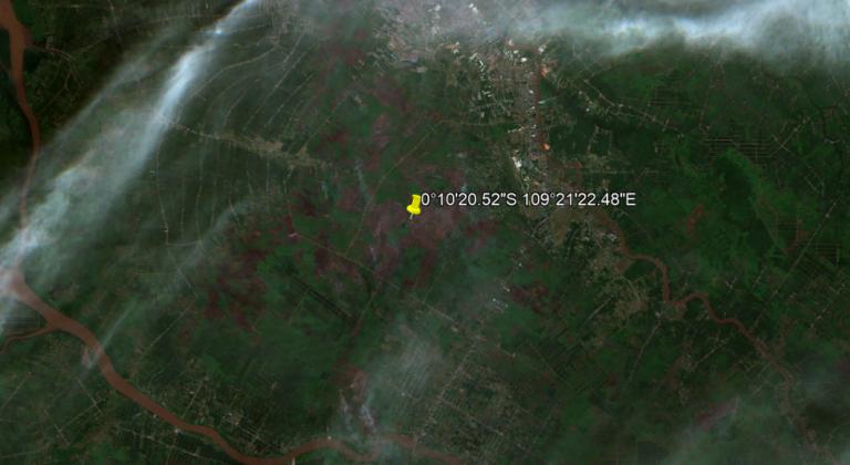 """25 Februari 2021 Terdeteksi Asap di Koordinat 0°10'20.52""""S 109°21'22.48""""E (Limbung, Kec. Sungai Raya, Kabupaten Kubu Raya, Kalimantan Barat)"""